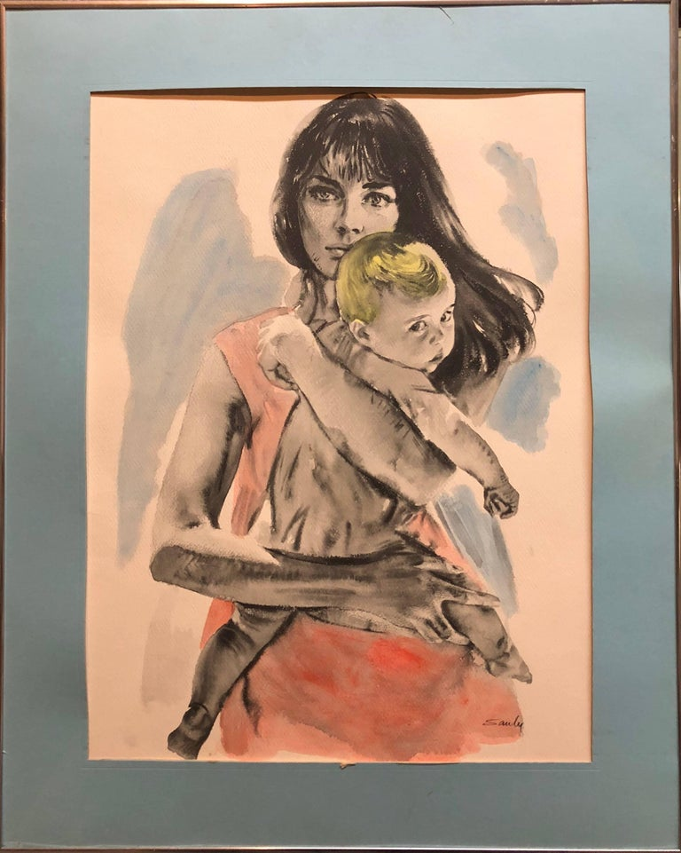Large Gouache Painting of Mother with Baby For Sale 1