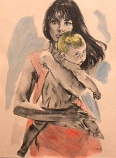 Large Gouache Painting of Mother with Baby