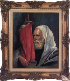 Rabbi with Torah, Oil Painting by Sandu Liberman