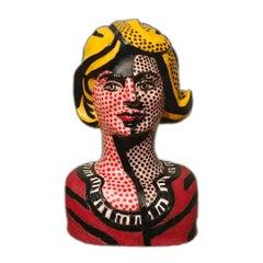 Lichtenstein's Blonde Woman -Pop Art Ode to Roy Lichtenstein in Handmade Ceramic