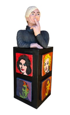 Warhol's Beauties - Andy Atop Portraits of Taylor, Garland, Monroe, and Kennedy