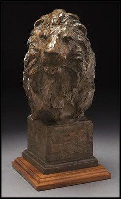 Sandy Scott Bronze Full Round Sculpture Lion Head Original Signed Animal Artwork