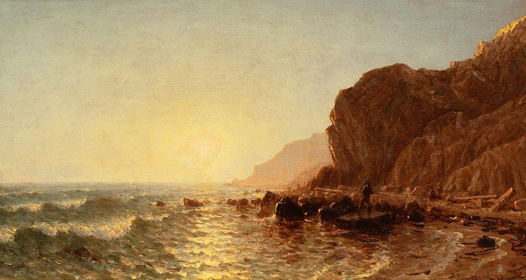Sanford Robinson Gifford Landscape Painting - Study for 'Sunset on the Shore of No Man's Land–Bass Fishing'
