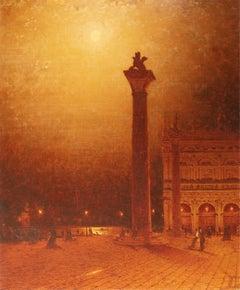 The Column of St. Mark, Venice, Moonlight