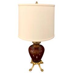 Sang de Boeuf, Ormolu Mounted Vase, by Rookwood 1936, now as a Lamp, Dark Glaze
