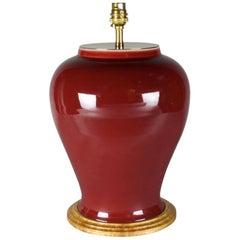 Sang de Boeuf Porcelain Temple Jar Chinese Table Lamp