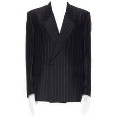 SANKUANZ black logomania jacquard pinstripe boxy double breasted blazer jacket M
