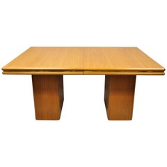 Sannemann Midcentury Danish Modern Teak Double Pedestal Dining Room Table