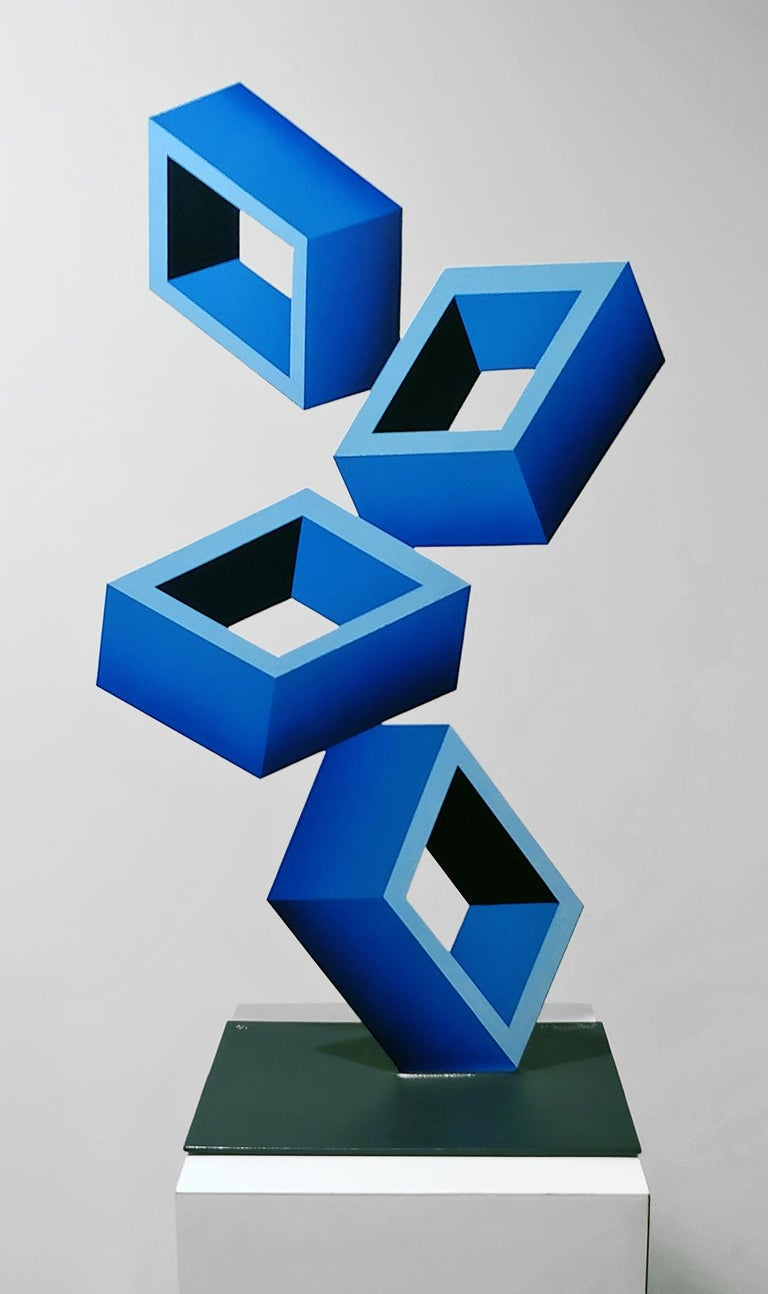 4 Blue Boxes illusion sculpture, 28x16, Metal and Enamel, - Sculpture by Sanseviero
