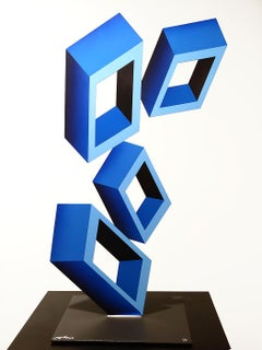 4 Bright Blue Boxes....illusion sculpture, metal and enamel