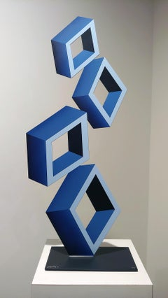 """4 Blue Boxes"" illusion sculpture,  28x 12"" Metal and Enamel,"