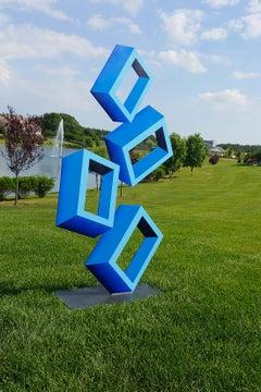 """4 Large Blue Boxes illusion Sculpture, Aluminum and Enamel, 60x30"""""""