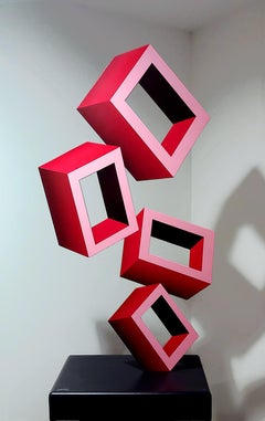 """""""4 Large Red Boxes"""" Illusion Sculpture, Aluminum and Enamel"""