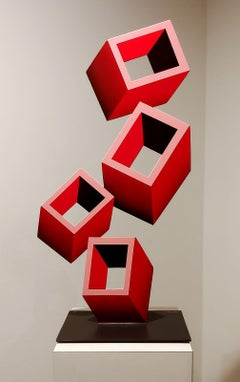 4 Red Boxes FLAT Illusion sculpture, Metal and Enamel