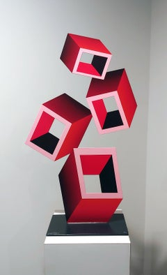 """4 Red Boxes"" illusion sculpture,"