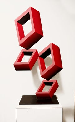 4 Red Boxes illusion Sculpture, Metal and Enamel, 28x15""