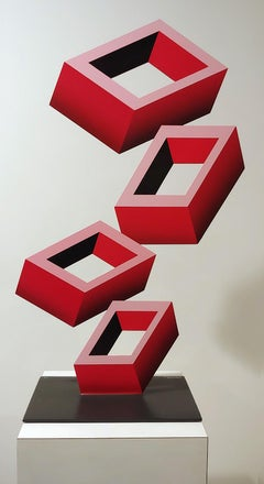 4 Red Boxes  illusion sculpture, metal and enamel