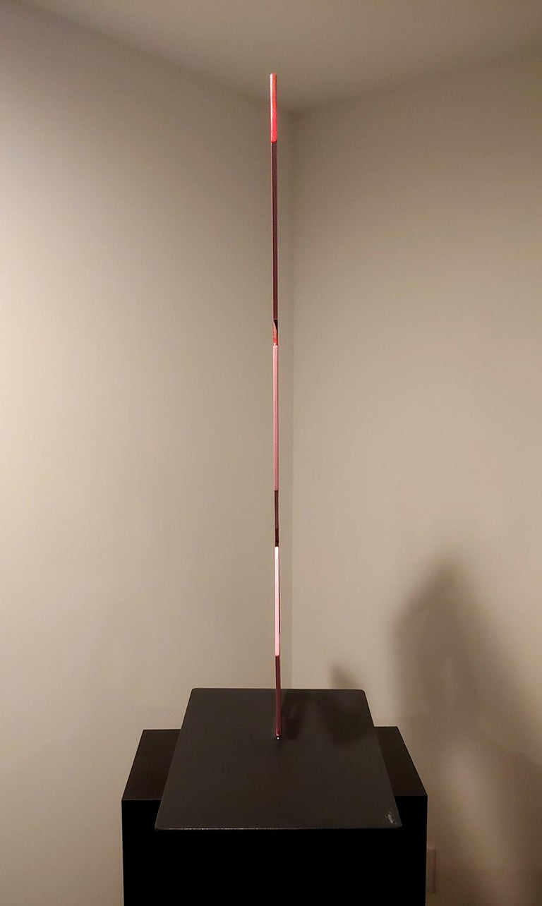 Aluminum illusion sculpture 4 Red Boxes large flat Geometric 40x27 - Sculpture by Sanseviero