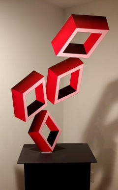 Aluminum illusion sculpture 4 Red Boxes large flat Geometric 40x27