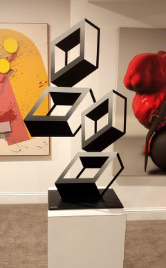 """""""4 White and Gray Boxes"""" illusion sculpture 2021 see through metal effect"""