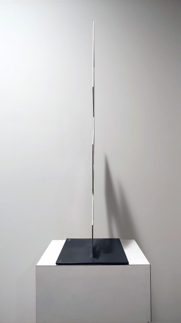 4 White and Gray boxes, illusion sculpture, 28x16 Metal and Enamel - Sculpture by Sanseviero