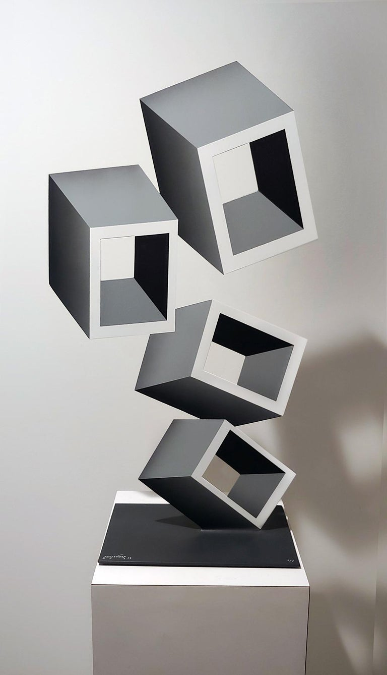 4 White and Gray boxes, illusion sculpture, 28x16 Metal and Enamel - Pop Art Sculpture by Sanseviero