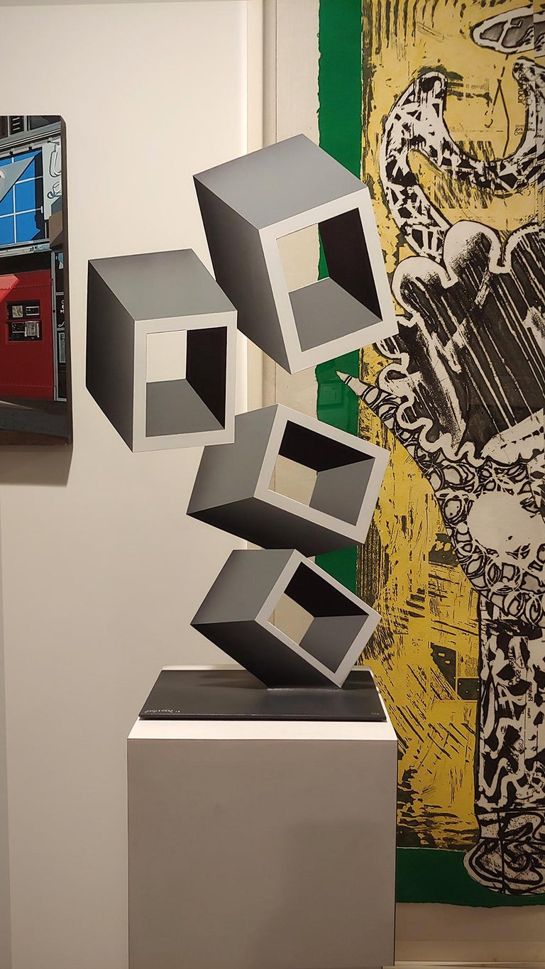 4 White and Gray boxes, illusion sculpture, 28x16 Metal and Enamel For Sale 3