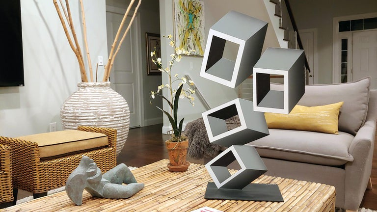 4 White and Gray boxes, illusion sculpture, 28x16 Metal and Enamel For Sale 4