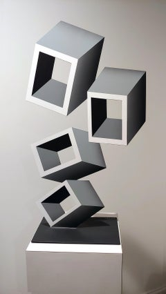 4 White and Gray boxes, illusion sculpture, 28x16 Metal and Enamel