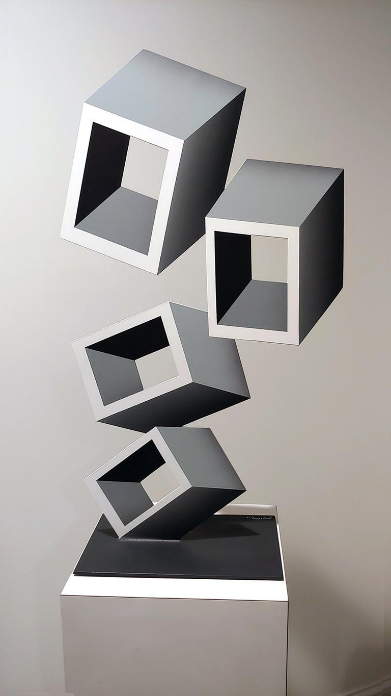 4 White and Gray boxes, illusion sculpture, 28x16 Metal and Enamel For Sale 2