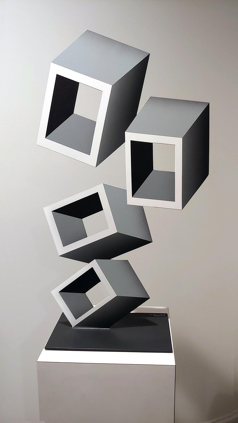 Sanseviero Abstract Sculpture - 4 White and Gray boxes, illusion sculpture, 28x16 Metal and Enamel