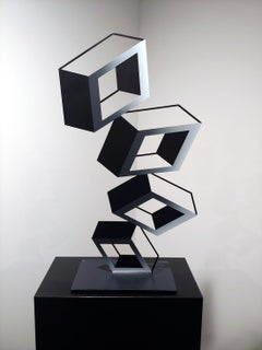"""""""4 White and Gray Boxes"""" metal illusion sculpture with see through effect"""