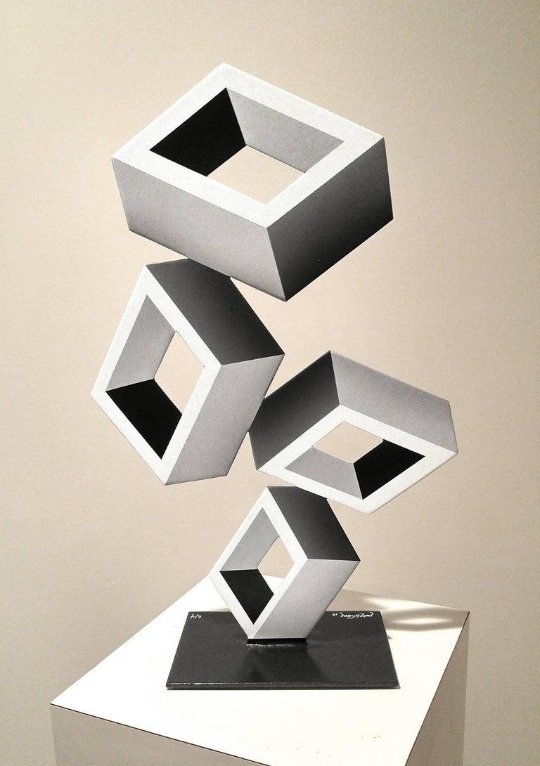 """""""4 White Boxes"""" Metal and Enamel"""