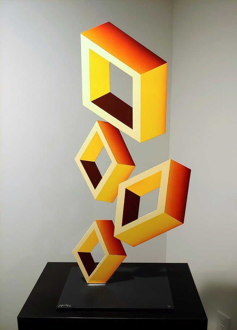 """Sanseviero Abstract Sculpture - """"4 Yellow Boxes""""................ 2020 Illusion sculpture Metal and enamel"""