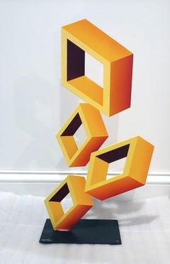 4 Yellow Boxes Illusion Sculpture