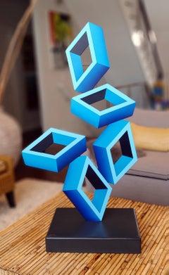 """""""5 Large Blue Boxes""""  Illusion Sculpture, Aluminum and Enamel"""