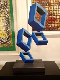 """""""Large 4 Blue Boxes"""" Illusion Sculpture"""