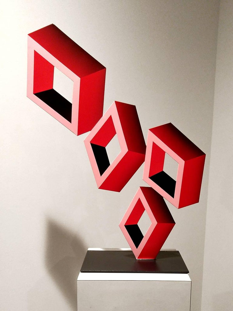 """""""Leaning Tower of 4 Red Boxes""""  Illusion Sculpture, Metal and enamel"""