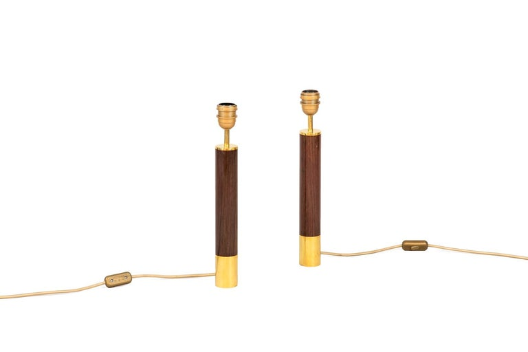 Modern Sansta & Cole, Pair of Lamps in Rosewood and Gilt Brass, 1980s For Sale