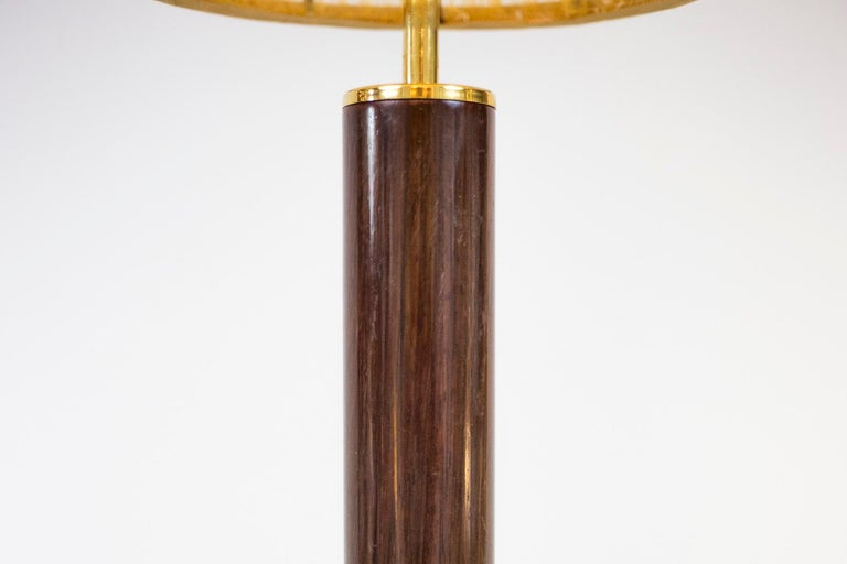 European Sansta & Cole, Pair of Lamps in Rosewood and Gilt Brass, 1980s For Sale