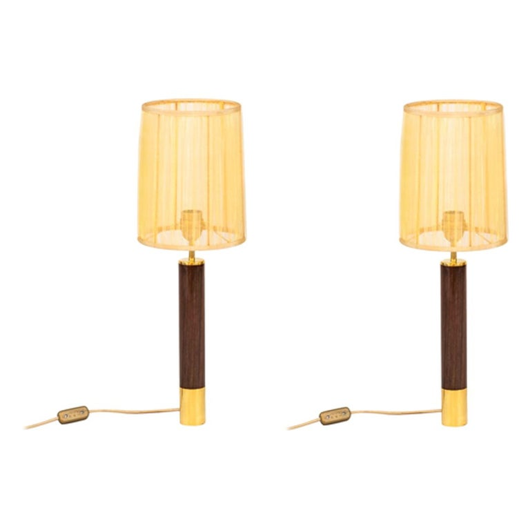 Sansta & Cole, Pair of Lamps in Rosewood and Gilt Brass, 1980s For Sale