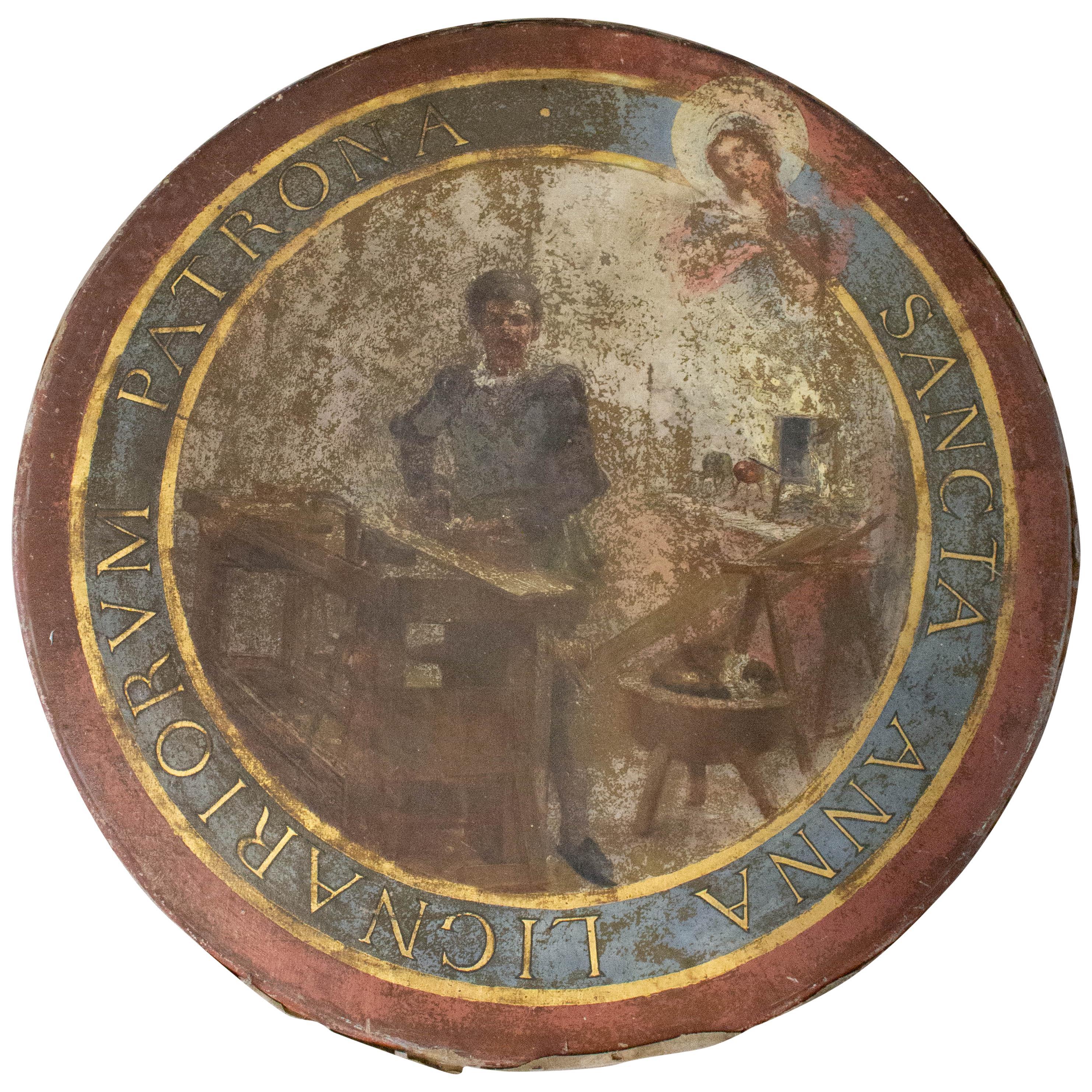 Santa Anna Painting Patron Saint of Cabinetmakers, Sailors, French, 19th Century