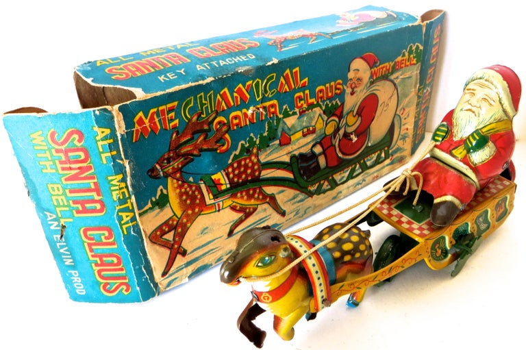 Santa Claus in a Sleigh Wind Up Toy Japan, circa 1953 For Sale 4