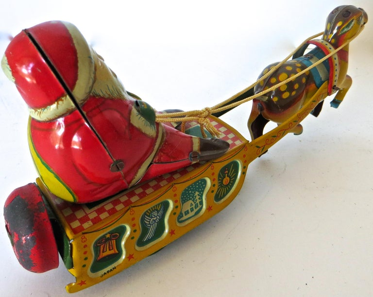 Hand-Crafted Santa Claus in a Sleigh Wind Up Toy Japan, circa 1953 For Sale