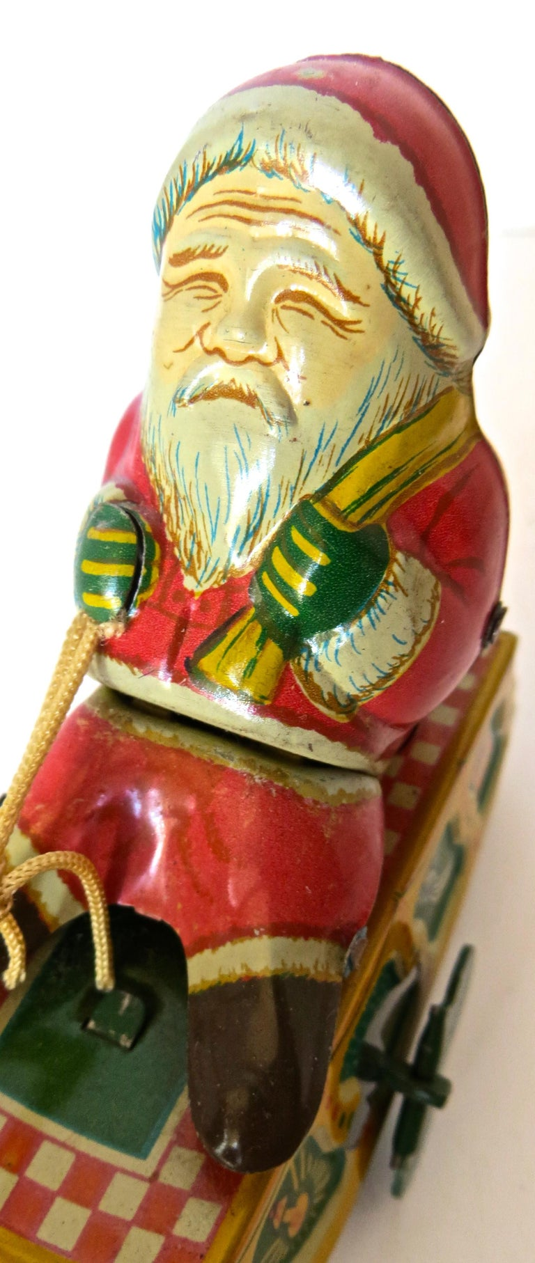Santa Claus in a Sleigh Wind Up Toy Japan, circa 1953 In Good Condition For Sale In Incline Village, NV
