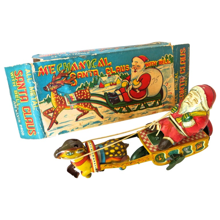 Santa Claus in a Sleigh Wind Up Toy Japan, circa 1953 For Sale