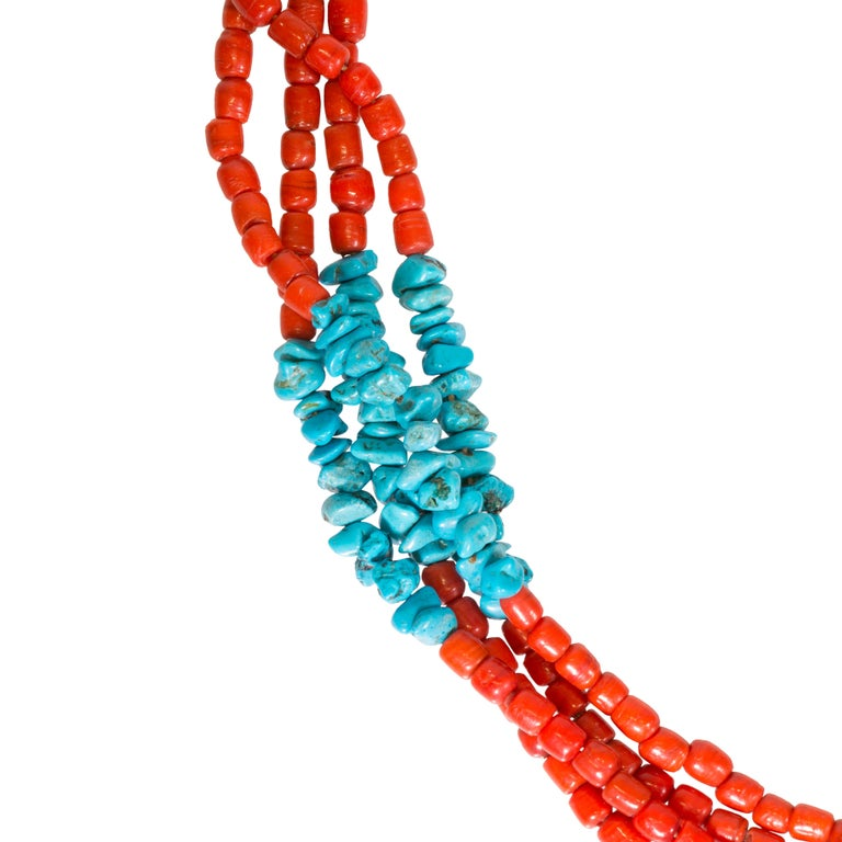 Santa Domingo Coral and Turquoise Necklace In Excellent Condition For Sale In Coeur d Alene, ID