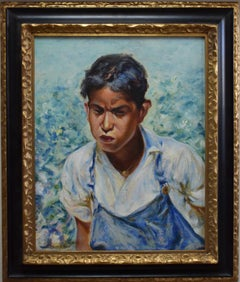 """Picking Cotton""  YOUNG MEXICAN BOY IN THE COTTON FIELDS.  AFTER JOSE ARPA"