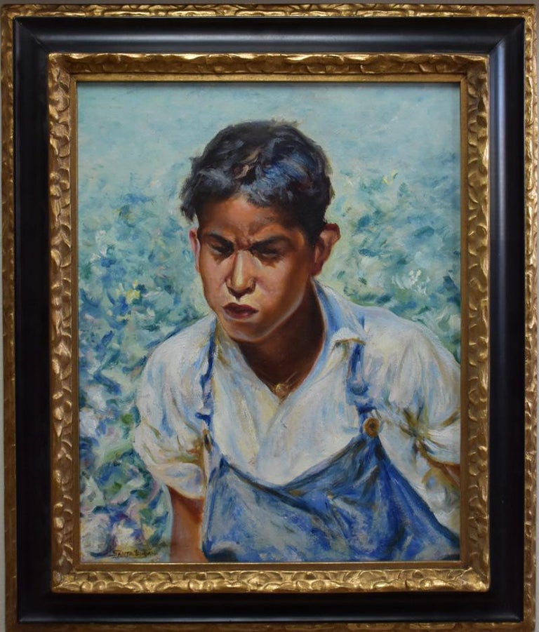 """Santa Duran Landscape Painting - """"Picking Cotton""""  YOUNG MEXICAN BOY IN THE COTTON FIELDS.  AFTER JOSE ARPA"""