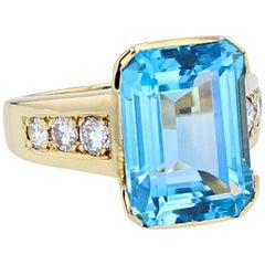 Santa Maria 6 Carat Aquamarine Diamond Cocktail Ring